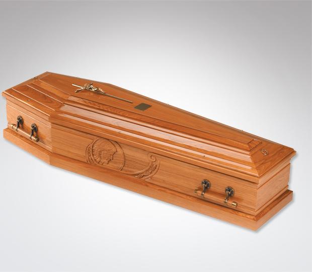 Head of Christ Oak Coffin